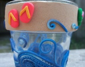 Votive Candle Holder, Polymer Clay - By the Seashore