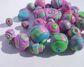 Circus Beads, set of 40, handmade polymer clay, assorted sizes
