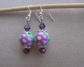 Green and Purple Polymer Clay Earrings, Dainty, Feminine, Springtime Flowers