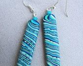 Polymer Clay Earrings, pierced dangle earrings, blue and green swirls, rectangles