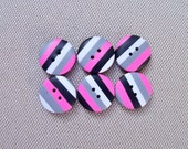 Polymer Clay Buttons, 1/2 inch, pink black white gray, handmade, set of 6