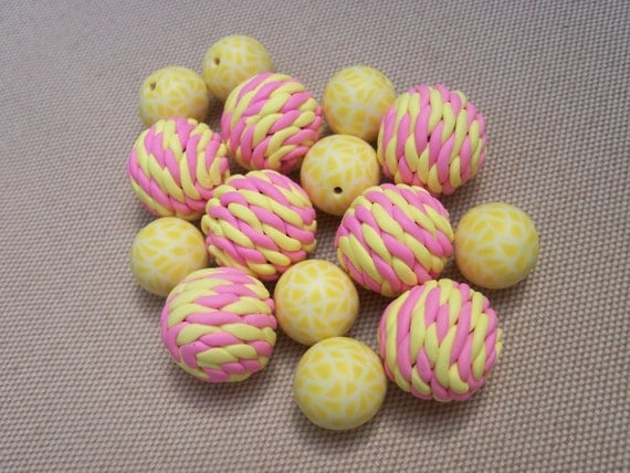 Polymer Clay Beads, set of 15, yellow and pink