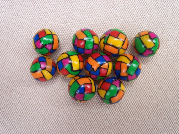 Mosaic multi-colored round polymer clay beads, 12 mm