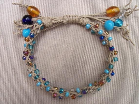 Kumihimo Bracelet, Natural Hemp and Glass Bead Bracelet, Nautical Blues