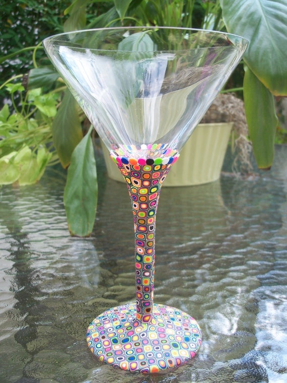 Martini Glass, Polymer Clay, retro spots