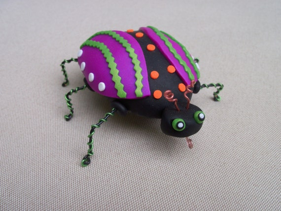 Polymer Clay Bug, decorated sea shell