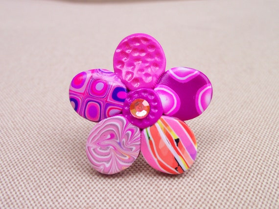 Polymer Clay Ring, Funky Flower, adjustable size