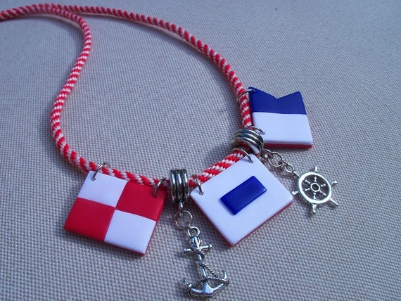 Nautical Flags, USA Necklace, red white blue