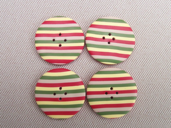 Handmade Buttons, polymer clay, 1 inch, set of 4, green red yellow and ecru stripes