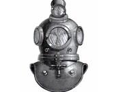 Deep Sea Diving Helmet Nautical Vintage Style Print