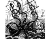 Giant Octopus Attacks Pirate Ship Nautical Vintage Style Art Print Black and White Grey Beach House Decor