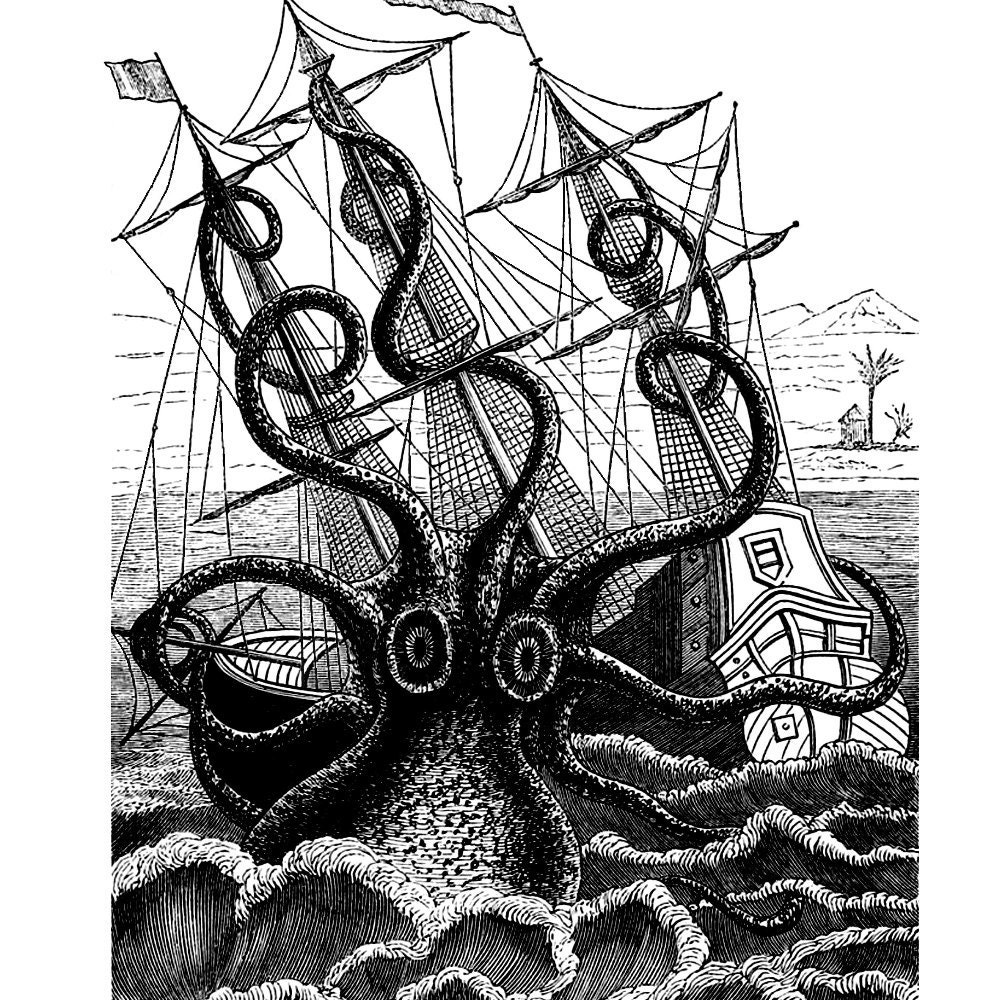 Giant squid attacking ship drawing