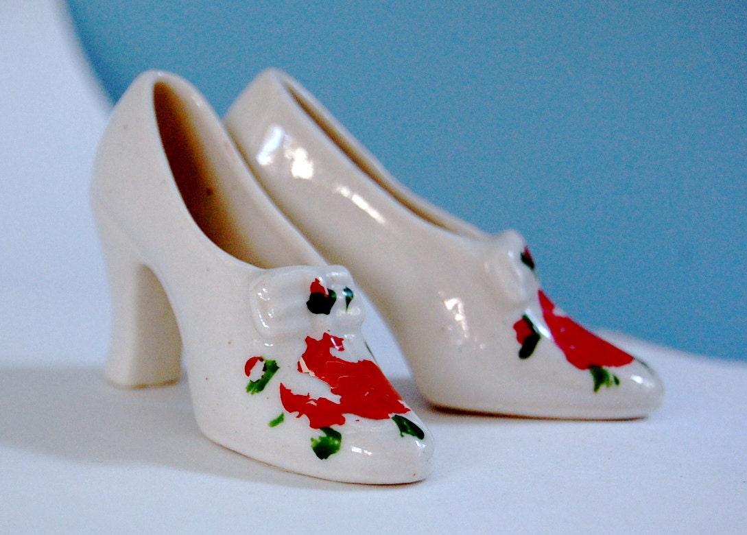 vintage mini ceramic high heel shoes by mynamewasvintage
