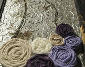 Maeve - Burlap, Lace and Purples Fabric Rosette Statement Necklace