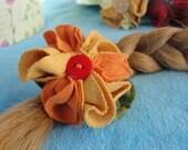 barrette orange flower, handmade hair clip,upcycled textiles