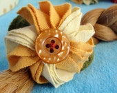 Barrette golden flower barrette upcycled fabric