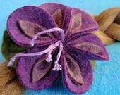 Barrette purple flower barrette wool felt