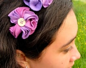 Headband purple garland of flowers handmade from upcycled textiles