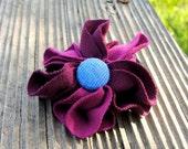 Hair tie deep purple flower