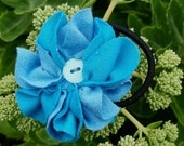Hair tie blue flower of recycled cotton knit