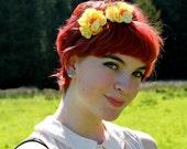 Yellow floral head band, flower headband