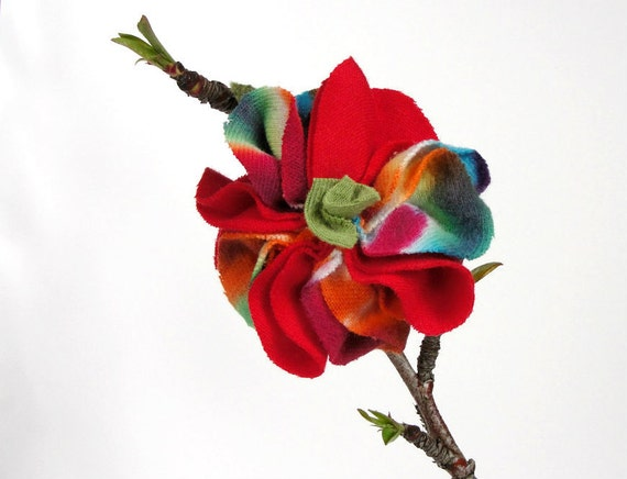 Red tie-dye fabric flower hair clip
