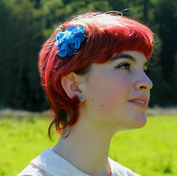 Blue floral hair clip upcycled fabric flower hair accessory girls women