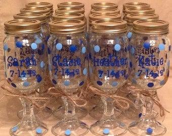 19 Personalized REDNECK WINE GLASSES Bridal Party Bride Bridesmaids Bachelorette Wedding Polka Dots