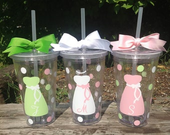 3 Personalized 16 oz. Clear BRIDE & BRIDESMAID TUMBLERS Dress, Initial, Polka Dots, Bridal Bachelorette Wedding Party