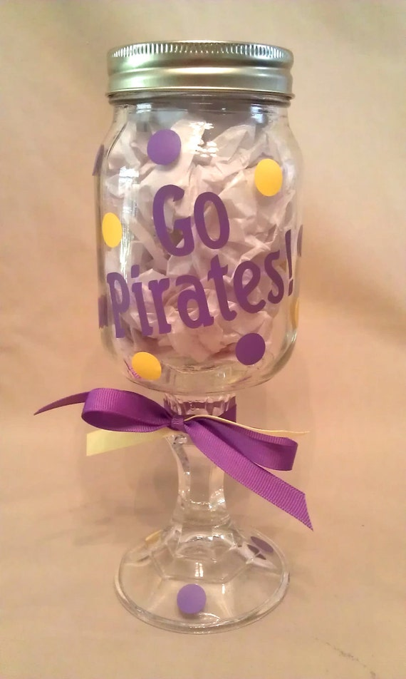 East Carolina University GO PIRATES Redneck Wine Glass for ECU Pirates fans