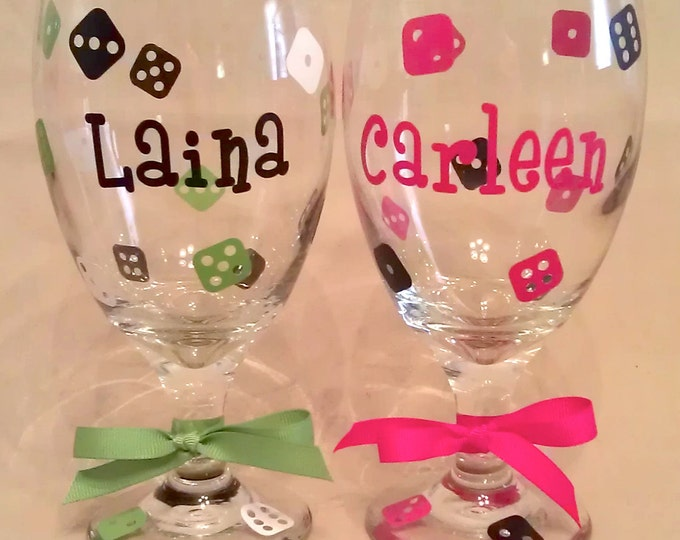 15 Personalized BUNCO WINE GLASSES Goblets with Dice, Name, Word or Initial Bunco Prize for Bunco Players