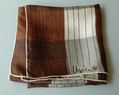 Vintage Gray and Brown Silk Vera Scarf