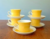 Five Vintage Ben Seibel Mikasa Duplex Cups and Saucers - Yellow and White