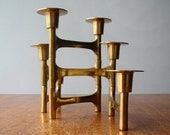 Vintage Modernist Articulating Brass Candle Holder / Candelabra