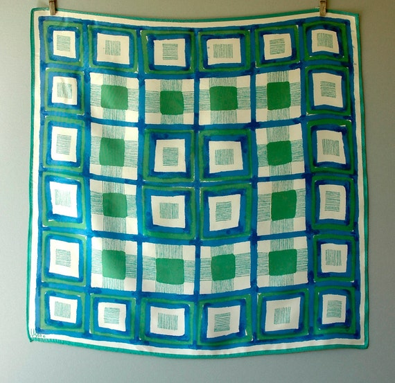 Vintage Vera Scarf Modernist Squares in Green / Blue