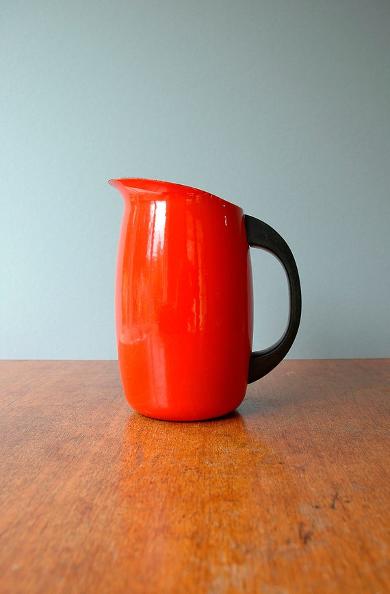 Mid Century Danish Modern Finel Enamel Pitcher - Red - RESERVED