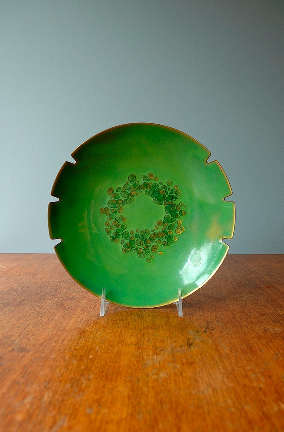 Mid Century Green Enamel Ashtray / Hold All - RESERVED