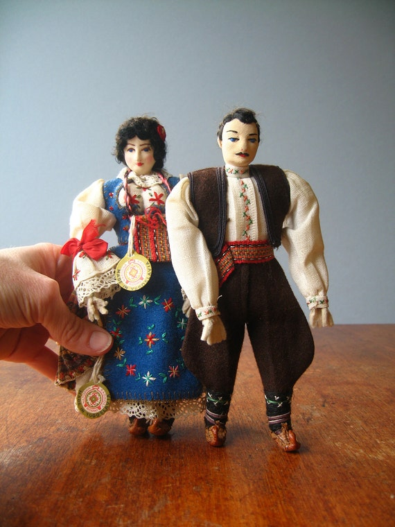 Pair of Vintage Yugoslavian Dolls in Traditional Dress - RESERVED