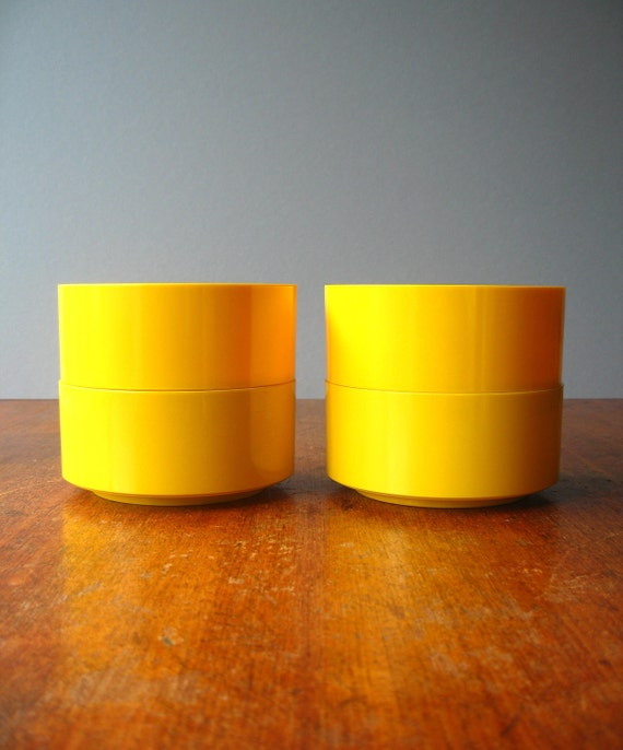 RESERVED Mod Plastic Heller Vignelli Yellow Bowls RESERVED