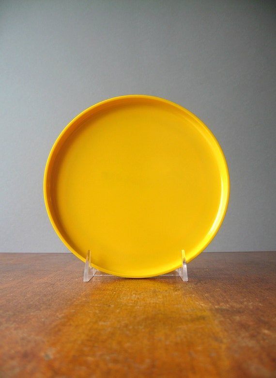 RESERVED Vintage Mod Plastic Heller Plates - Four Small Yellow