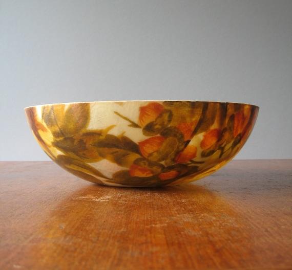 Mid Century Fiberglass Bowl Pair Floral Design