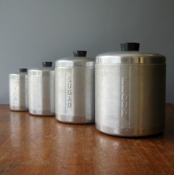 Mid Century Spun Aluminum Canister Set