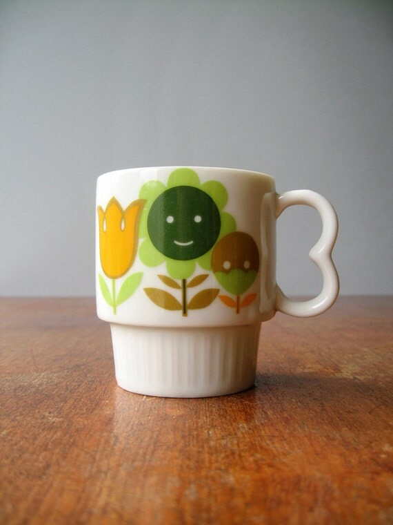 Cute Vintage Japanese Mug - Happy Flowers RESERVED