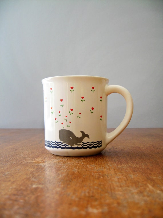 Cute Retro 80's Mug - Whale in Love