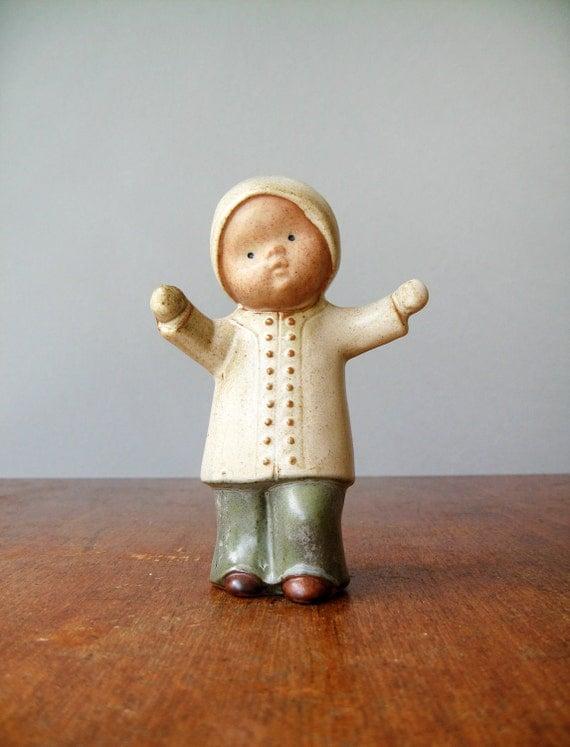 Vintage Japanese Stoneware Child Figurine