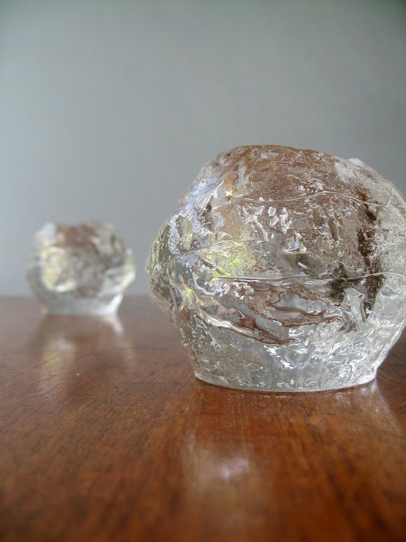Kosta Boda Snowball Votive Candle Holder Pair - RESERVED