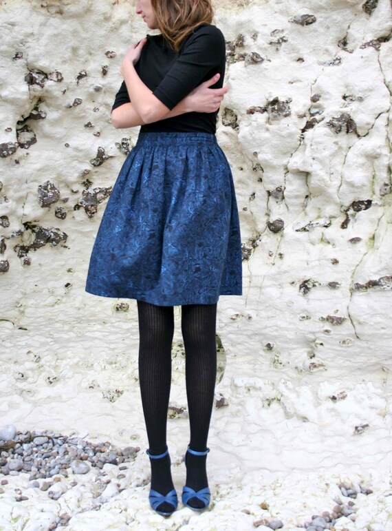LAST ONE Skirt FLEUR (wool skirt Liberty fabric) - made to order