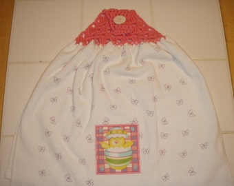 Easter Chick Crocheted Top Dish Towel (Double)