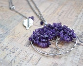 Pendant Necklace Tree Of Life in Amethyst