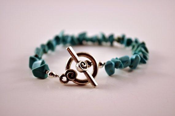 Gemstone Bracelet Howlite Silver Toggle